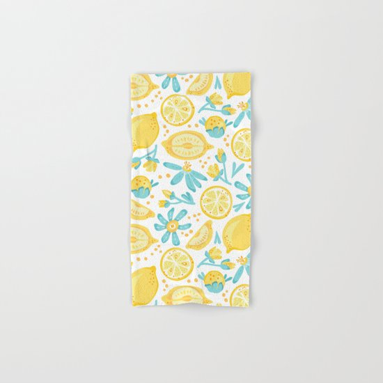 Lemon pattern White Hand & Bath Towel