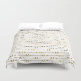 White & Gold Arrow Pattern Duvet Cover