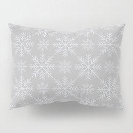 Snowflakes on Gray Pillow Sham