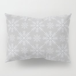 Snowflakes on Gray Pillow Sham