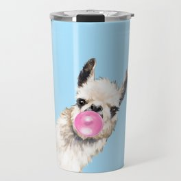 Bubble Gum Sneaky Llama in Blue Travel Mug