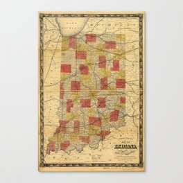 Map of Indiana showing Railroads and Townships (1858) Canvas Print
