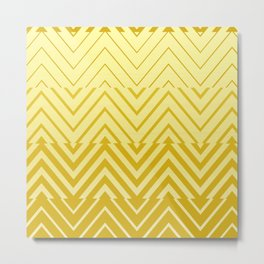 Chevron Ombre Stencil | yellow gold Metal Print