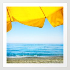 Yellow Beach Brolly with Blue Sea and Sky Art Print
