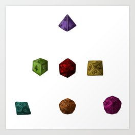 Rainbow Gaming Polyhedron Dice Art Print