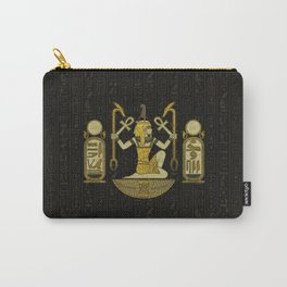 Egyptian Ornament Gold on black with hieroglyphs Carry-All Pouch