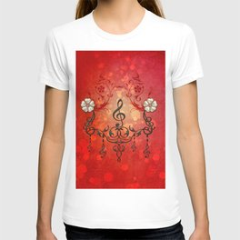 Music, clef with decorative floral elements T-shirt