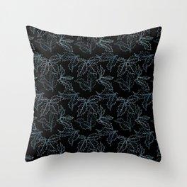Holly Sprigs (Black Glow) - Titanium Throw Pillow