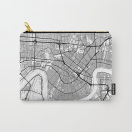 New Orleans Map White Carry-All Pouch