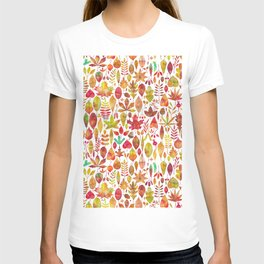 Red gold brown watercolor Autumn leaves pattern T-shirt