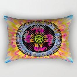 Psychedelic Elephant Mandala Pink Yellow Blue Rectangular Pillow