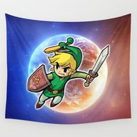 hero Wall Tapestries featuring Triforce Hero by Febrian89