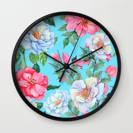 Pink and Blue Floral Print On Aqua Background Wall Clock