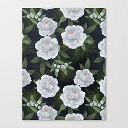 winter rose // repeat pattern Canvas Print