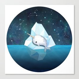 Baby Narwhal on Iceberg Canvas Print