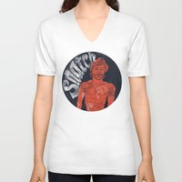 snatch V-neck T-shirts featuring Snatch by javier millan