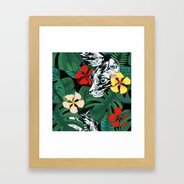 Tropical floral jungle. Exotic forest. Leopard with flowers. Framed Art Print