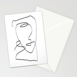Abstract head, Minimalist Line Art Stationery Cards
