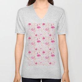 Pink flamingos & dots pattern Unisex V-Neck