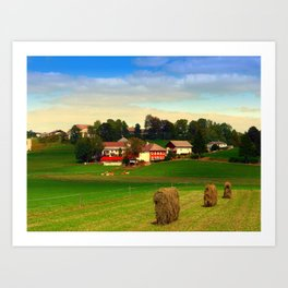 Hay bales and country village | landscape photography Art Print