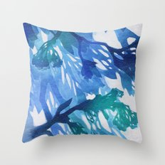 Morning Blossoms 2 - Blue Variation Throw Pillow