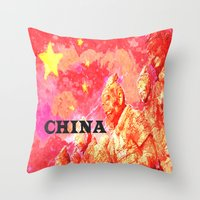 china Throw Pillows featuring China by Brian Raggatt