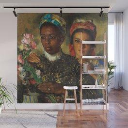 "African American Masterpiece ""Women Arranging a Bouquet of Flowers' by Jose Cruz Herrera Wall Mural"