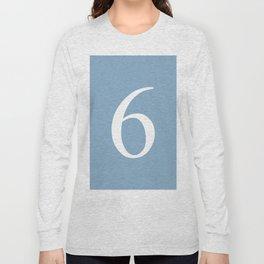 number six sign on placid blue color background Long Sleeve T-shirt