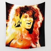 tina crespo Wall Tapestries featuring Tina - Queen of Rock and Roll - Turner - Pop Art by William Cuccio aka WCSmack