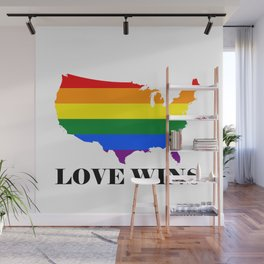 Love Wins Map White Background Black Text Wall Mural