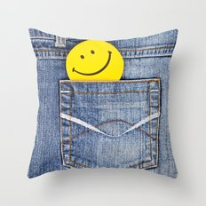 Smile in jeans pocket Throw Pillow