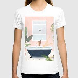 Pink Bathroom, Bathtub, & Tropical Plants T-shirt