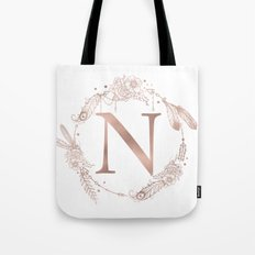 Letter N Rose Gold Pink Initial Monogram Tote Bag