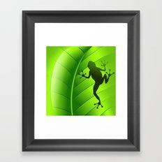Frog Shape on Green Leaf Framed Art Print