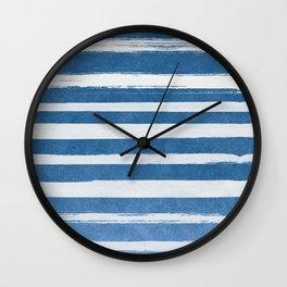 Blue Foil Stripes Wall Clock