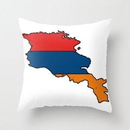 Armenia Map with Armenian Flag Throw Pillow