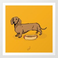 hot dog Art Prints featuring Hot Dog by Whale Paws