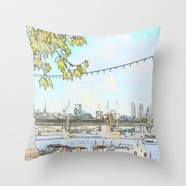 London River Scene Throw Pillow