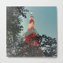 Tokyo Tower Trees Metal Print