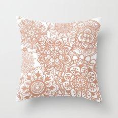 Rose Gold Mandala Pattern Throw Pillow