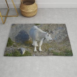 Mountain goat in the Canadian Rocky Mountains Rug