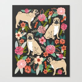 Pugs of spring floral pug dog cute pattern print florals flower garden nature dog park dog person  Canvas Print