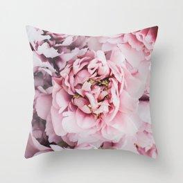 Pink Blush Peonies Throw Pillow