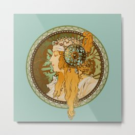 "Alphonse Mucha ""Byzantine Head: The Blonde"" edited Metal Print"