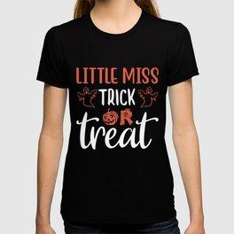 Little Miss Trick Or Treat Halloween Pumpkin T-shirt