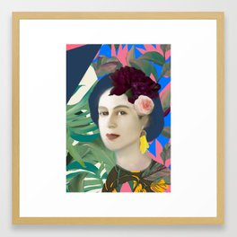 Jungle Pop Queenie with Kowhai Earring Framed Art Print
