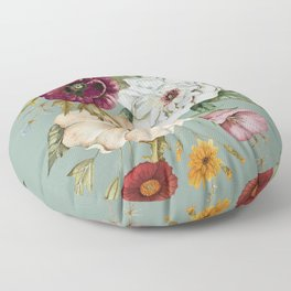 Colorful Wildflower Bouquet on Blue Floor Pillow