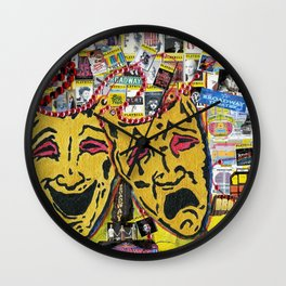 Broadway Theatre Masks Collage Wall Clock