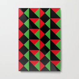 It seems like a very geometrical carapace. Squares and triangular shapes. Red and green and Black. Metal Print