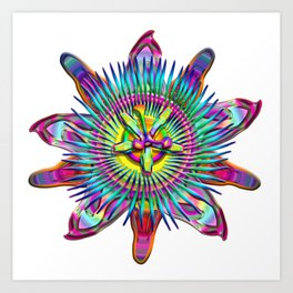 """Passiflora The """"Passion Flower"""" Psyhcedelic Abstract Art Print"""